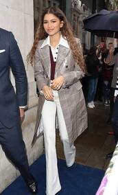 top,burgundy,zendaya,celebrity,coat,pants