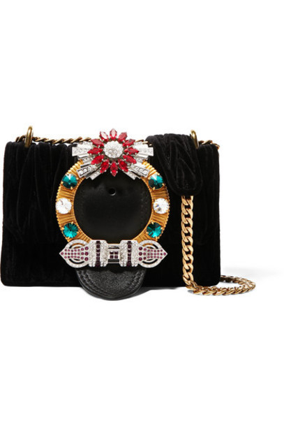 Miu Miu - Miu Lady Crystal-embellished Leather And Matelassé Velvet Shoulder Bag - Black