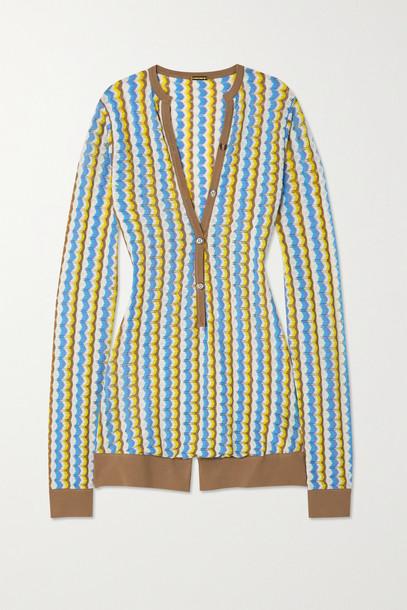 DODO BAR OR - Shiya Striped Pointelle-knit Playsuit - Blue