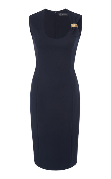 Versace Embellished Crepe Midi Dress in black