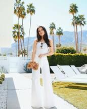 bag,handbag,white pants,wide-leg pants,high waisted pants,white top