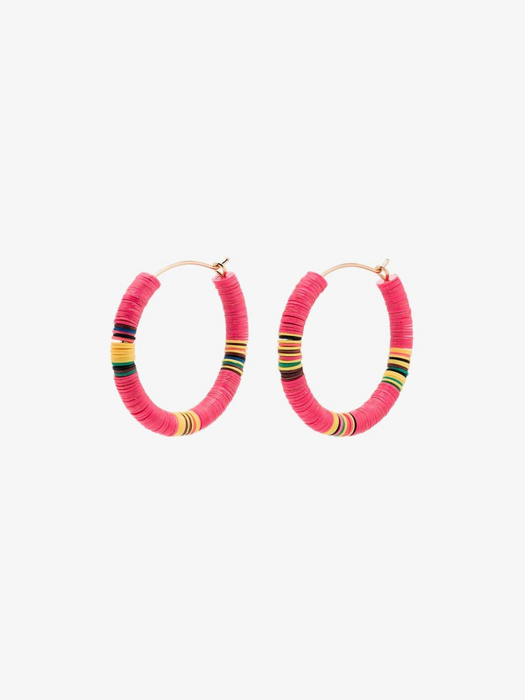 ALL THE MUST beaded hoop earrings in pink