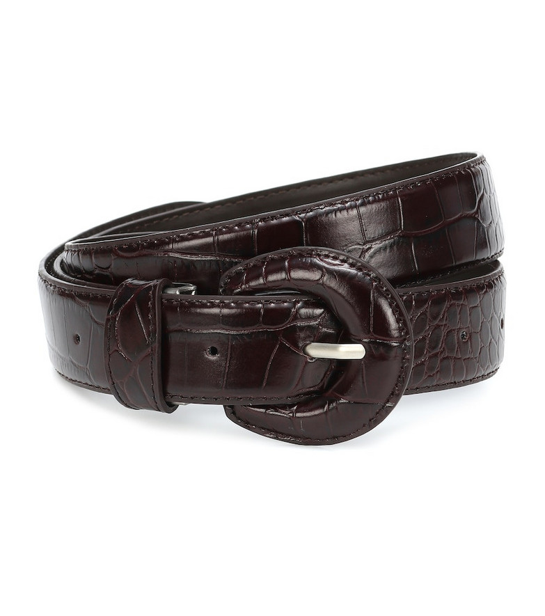 Low classic Croc-effect leather belt in brown