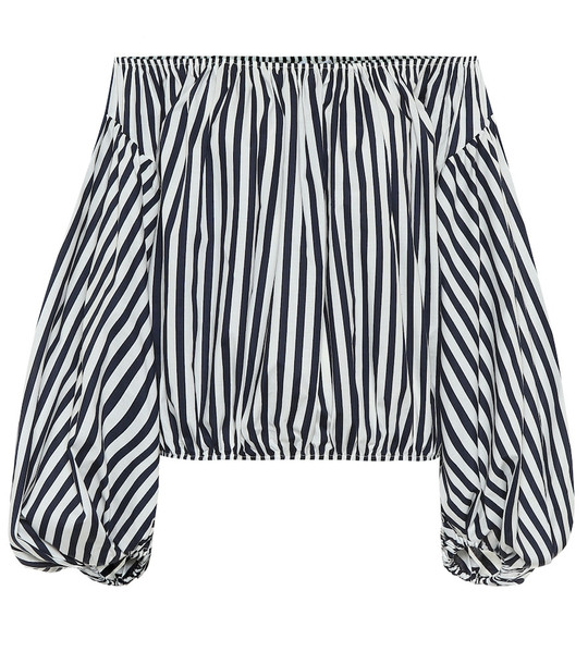 Caroline Constas Andros striped stretch-poplin top in blue