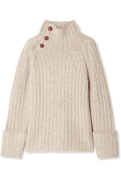 rag & bone - Klark Ribbed Wool-blend Turtleneck Sweater - Light gray