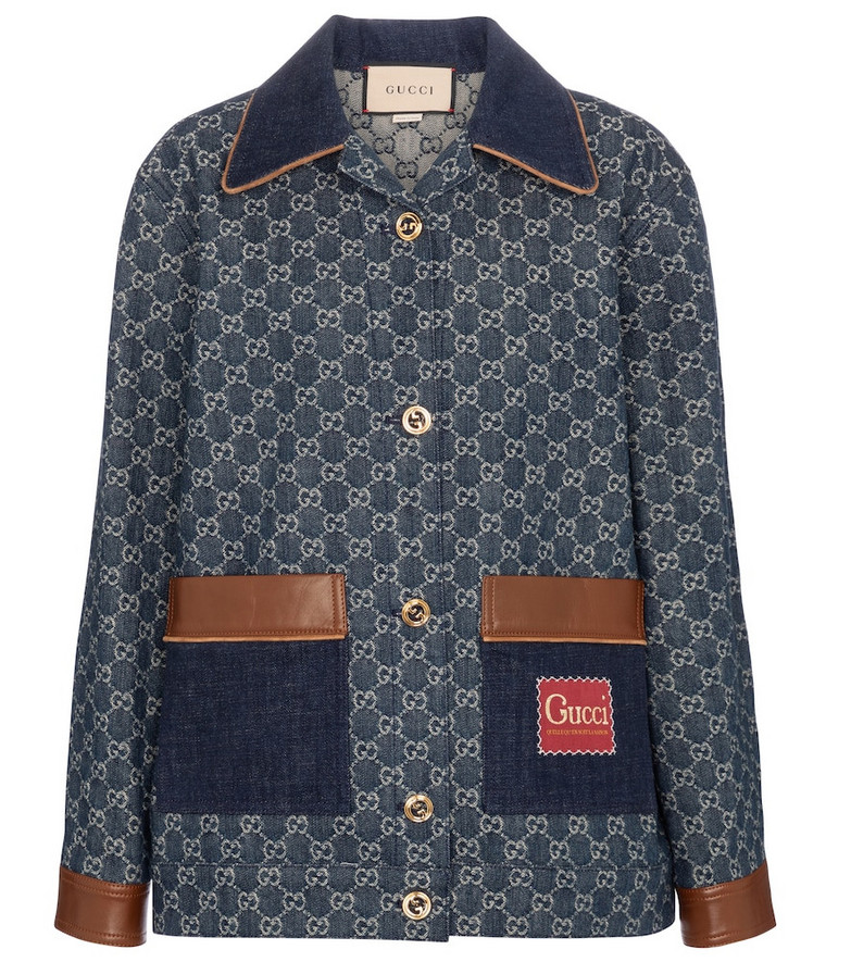 Gucci GG leather-trimmed denim jacket in blue