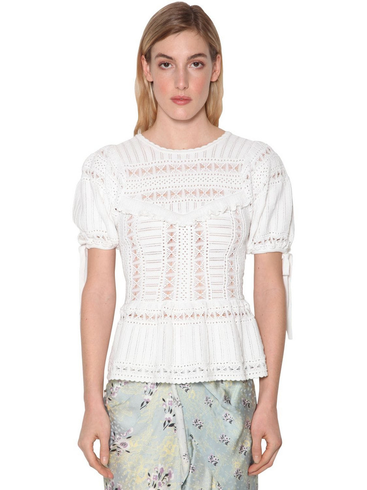 SELF-PORTRAIT Ivory Techno Knit Lace Top in white