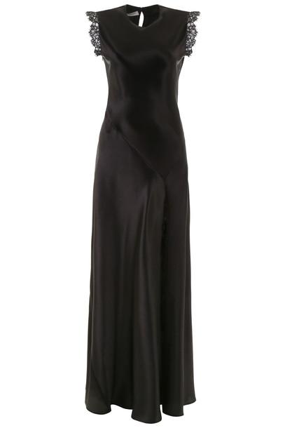 Philosophy di Lorenzo Serafini Long Satin Dress With Lace in black