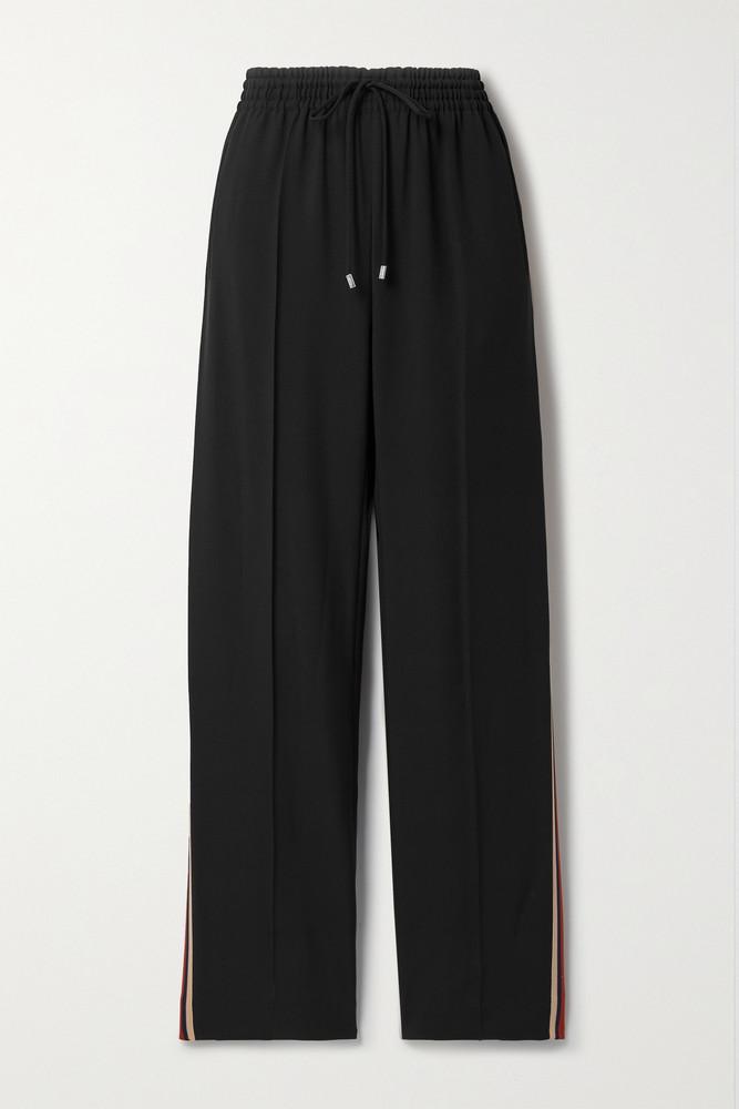 Chloé Chloé - Jacquard-trimmed Crepe Track Pants - Black