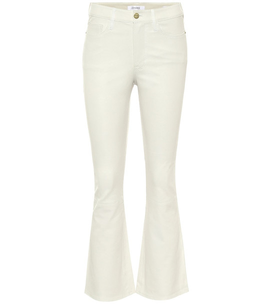 Frame Le Cropped high-rise leather pants in white
