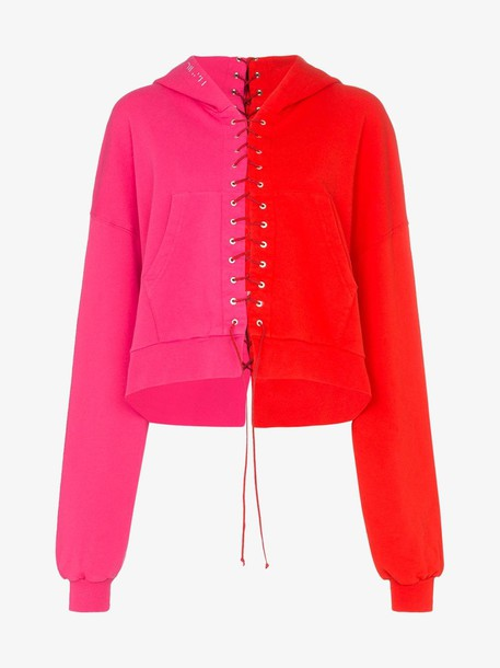 Unravel Project Terry lace-up hoodie in pink / red