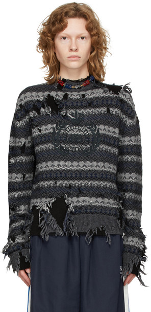 Balenciaga Grey Destroyed Fair Isle Sweater