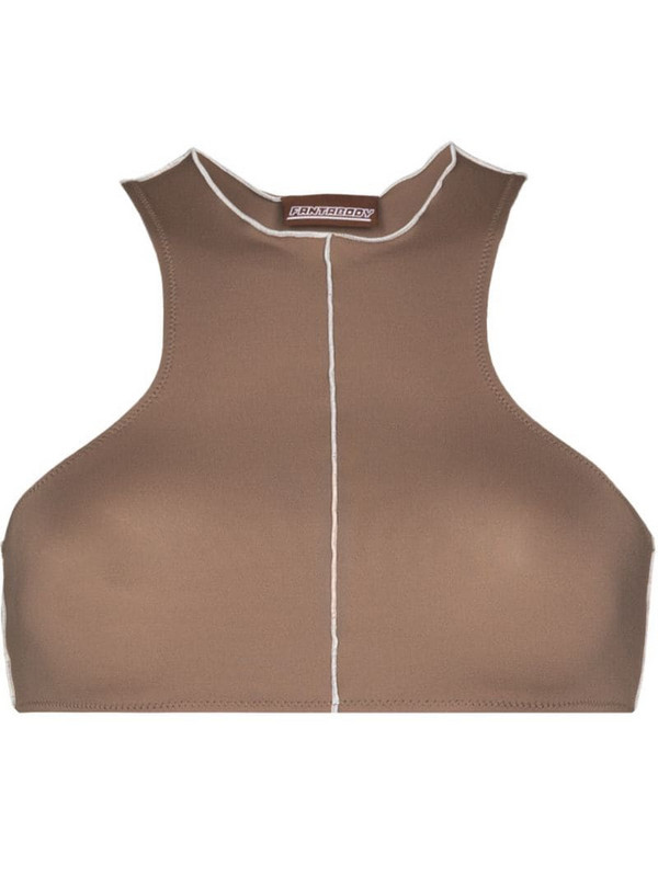 Fantabody Topstitched sports bra in brown