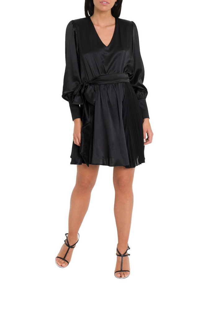 Federica Tosi Satin Dress With Ribbon On Waist in nero