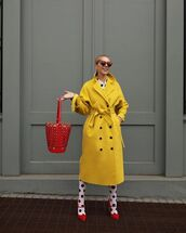 bag,bucket bag,yellow coat,long coat,double breasted,pumps,tights,shirt dress