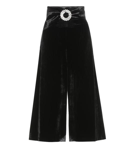 Miu Miu Velvet high-rise midi skirt in black