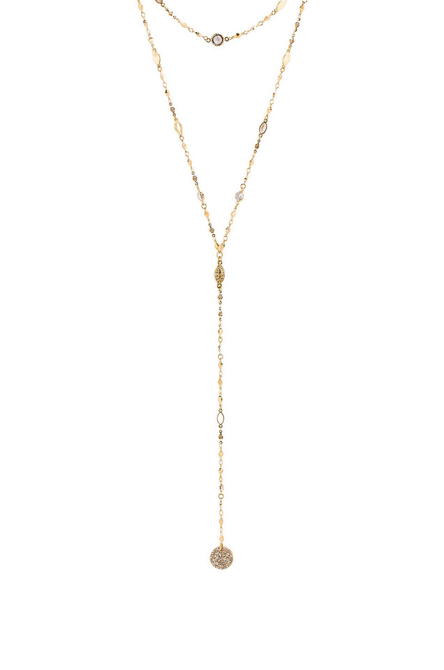 Ettika Lariat Necklace in gold / metallic