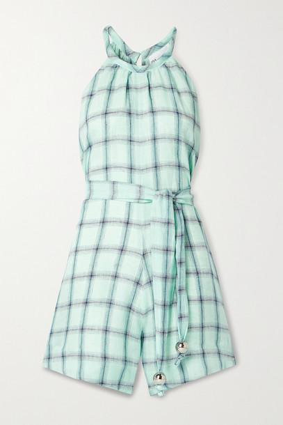 LISA MARIE FERNANDEZ - + Net Sustain Belted Checked Linen Playsuit - Green