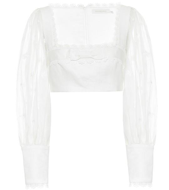 Zimmermann Super Eight Flutter linen crop top in white