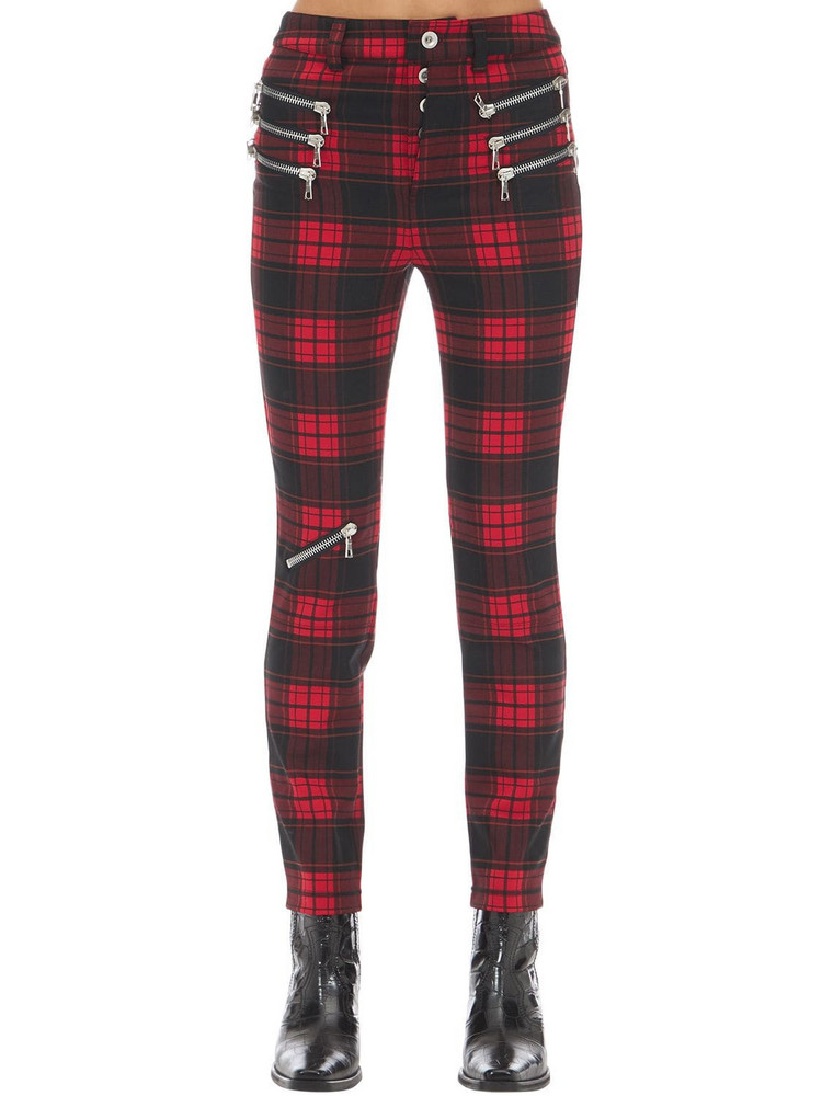 UNRAVEL Triple Zipped Plaid Skinny Pants in black / red
