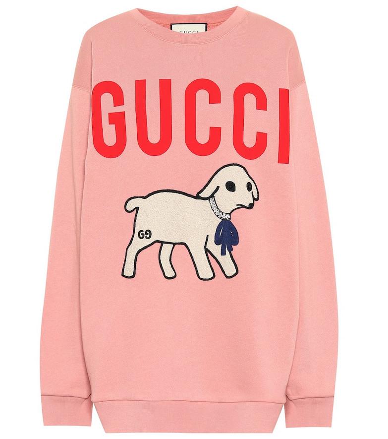 Gucci Appliquéd logo cotton sweatshirt in pink