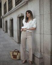 jeans,wide-leg pants,sandal heels,white blouse,loewe bag