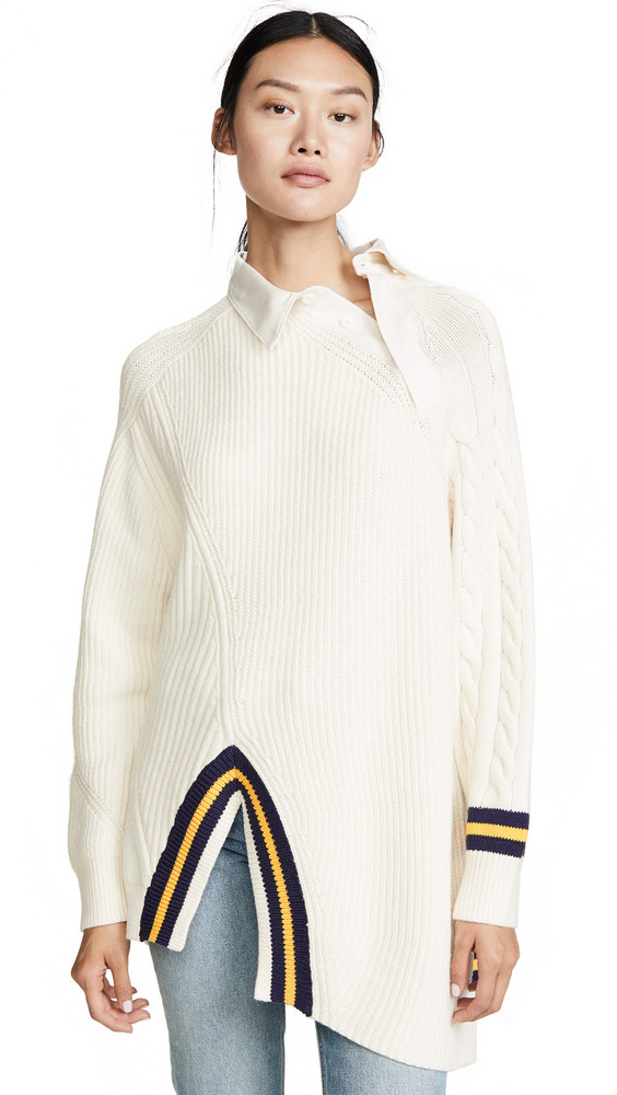 Alexander Wang Varsity Pullover Polo Collar in ivory