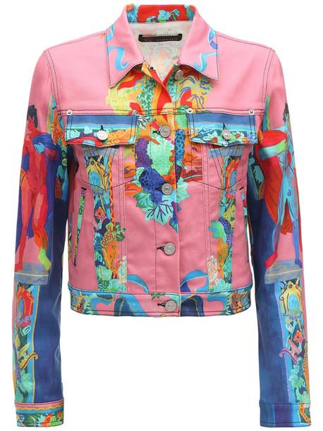 VERSACE Cropped Vessel Print Denim Jacket in pink / multi