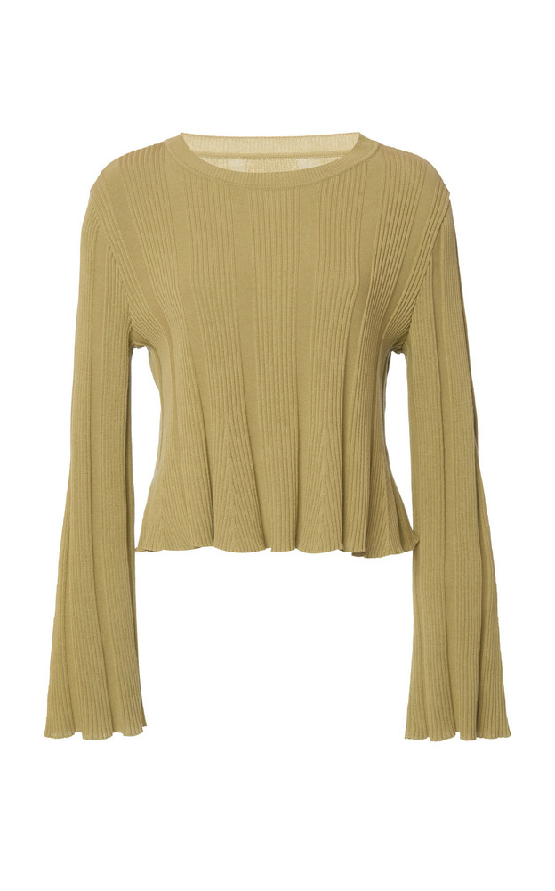 Alberta Ferretti Ribbed Knit Cotton Top in green