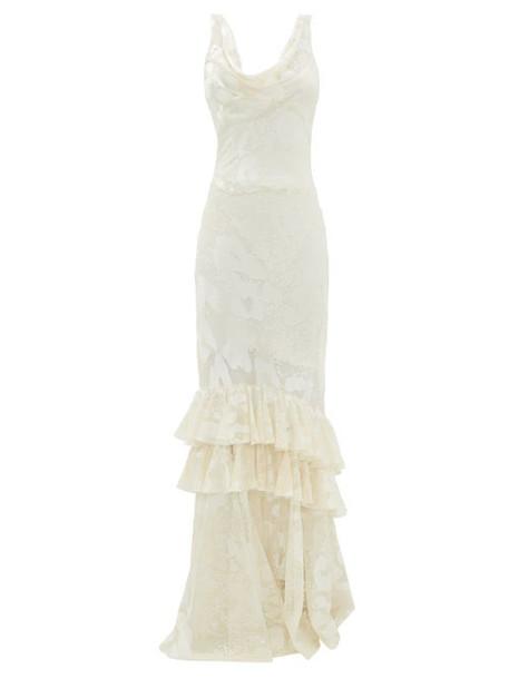 Rat & Boa - Leopard-devoré Layered-ruffle Dress - Womens - Ivory