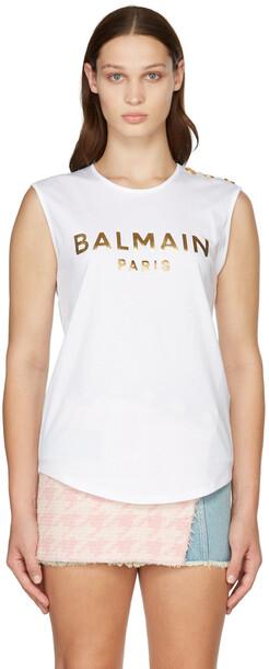 Balmain White & Gold Three-Button Logo Tank Top