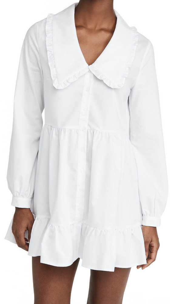 re:named re: named Eli Large Collared Dress in white