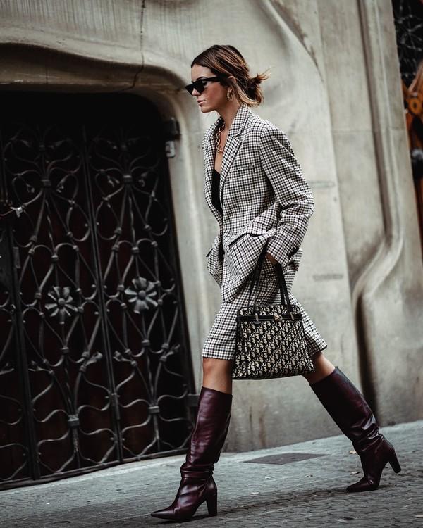 jacket plaid blazer midi skirt knee high boots dior bag
