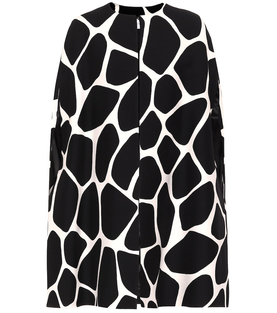 Valentino Printed wool and silk cape in black