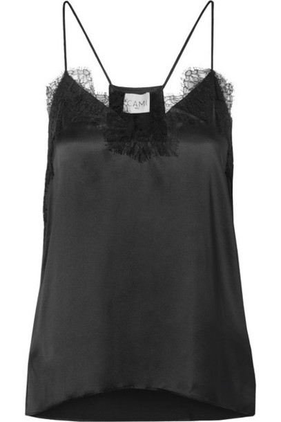 Cami NYC - The Racer Lace-trimmed Silk-charmeuse Camisole - Black