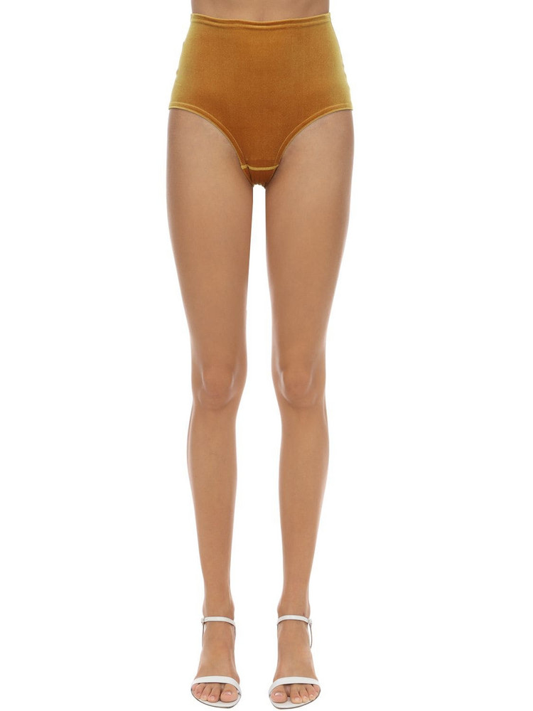 VELVET SOCK'S BY SIMONE WILD High Waist Techno Velvet Briefs in mustard