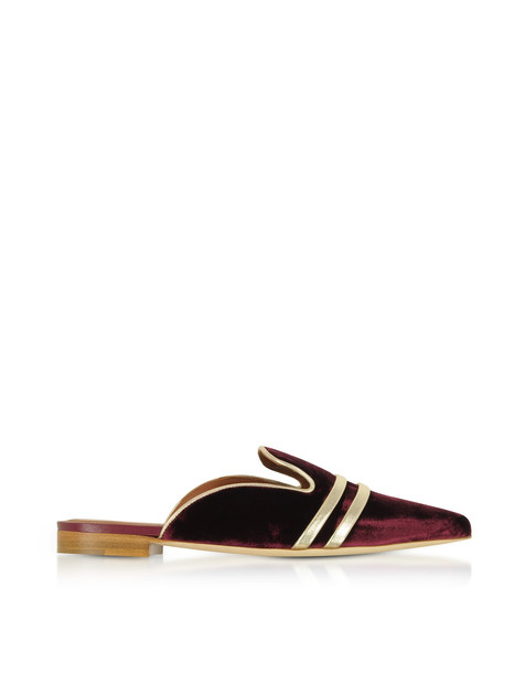 Malone Souliers Hermione Burgundy Velvet And Platinum Nappa Flat Mules