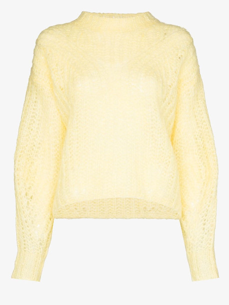 Isabel Marant Inko mohair wool knit sweater in yellow
