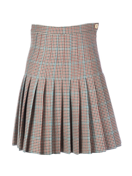 Off-White Check Pleated Mini Skirt All Over