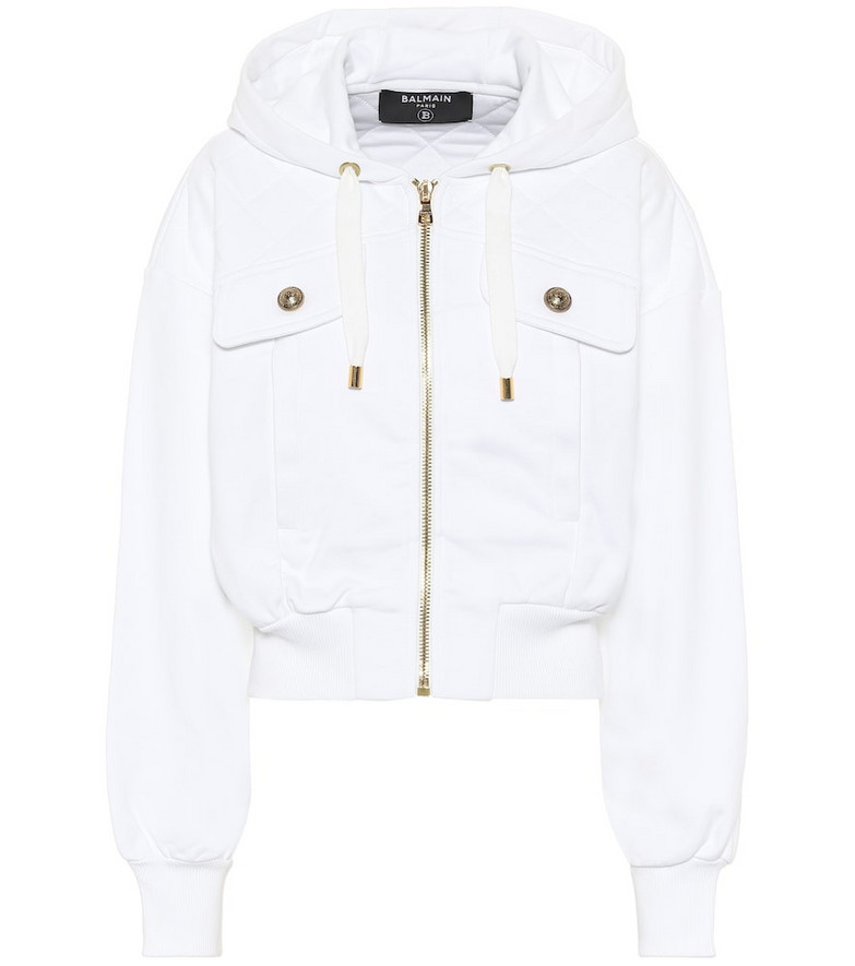 Balmain Cotton-jersey hoodie in white