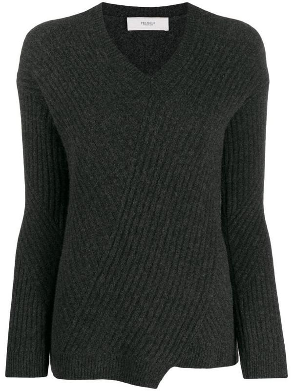Pringle of Scotland travelling rib v-neck jumper in grey