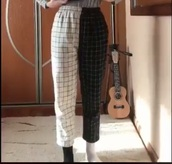 pants,black,white,plaid,different colored leg,multicolored pant leg,oversized,baggy