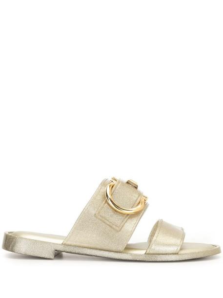 Salvatore Ferragamo Gancini metallic flat sandals in gold