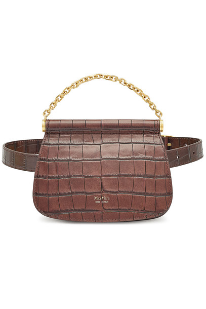 Max Mara Jana Leather Shoulder Bag  in brown