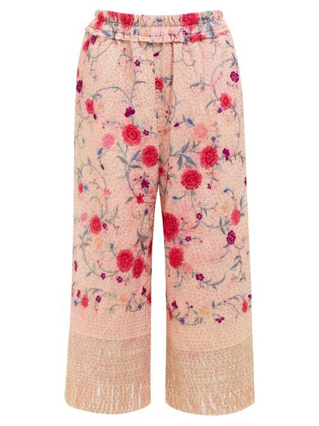 By Walid - Dania Cropped 19th Century Silk Trousers - Womens - Pink Multi