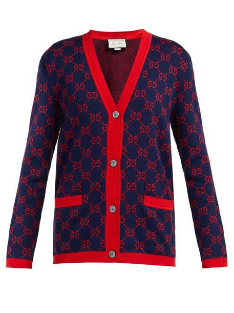 Gucci - Gg Jacquard Cotton Cardigan - Womens - Navy Multi