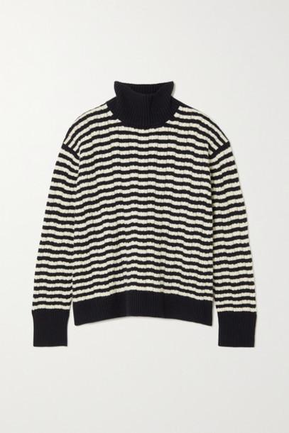 Loro Piana - Striped Pointelle-knit Cashmere Turtleneck Sweater - Navy