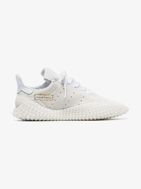 Adidas white kamanda suede and mesh sneakers