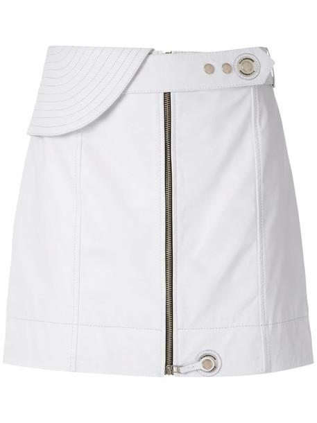 À La Garçonne leather mini skirt in white