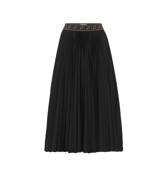 Fendi Pleated cotton-blend skirt in black